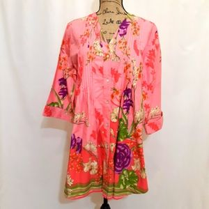 SOFT SURROUNDINGS PINTUCK FRONT FLORAL LARGE